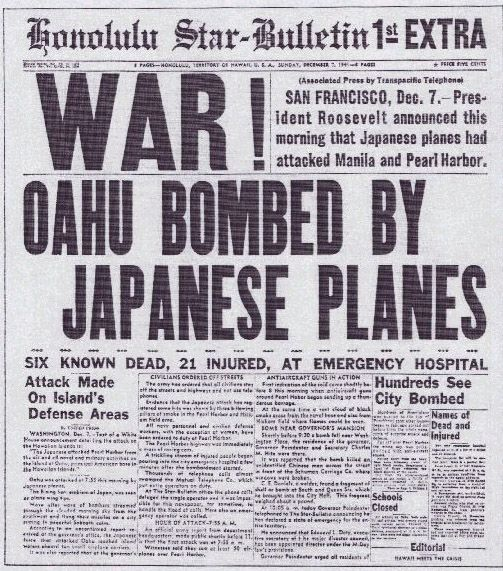 Dec. 7, 1941, the date of the military strike by Japan on Pearl Harbor, is being remembered today around the nation. 71 years ago at 0755 HST was the 1st attack on Pearl Harbor. Taking a moment of silence to remember those lost...