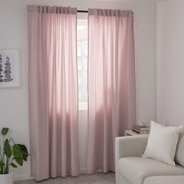 Kalkfly Curtains 1 Pair Light Pink 57x98 Ikea In 2020 Light Pink Rooms Pink Curtains Light Pink Bedrooms #pink #living #room #curtains