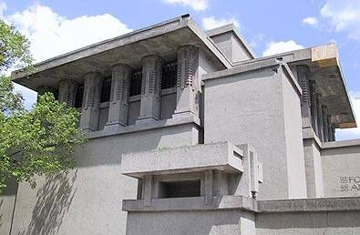 Frank Lloyd Wright's revolutionary Unity Temple in Oak Park, Illinois, was one of the earliest public buildings constructed of poured concrete.