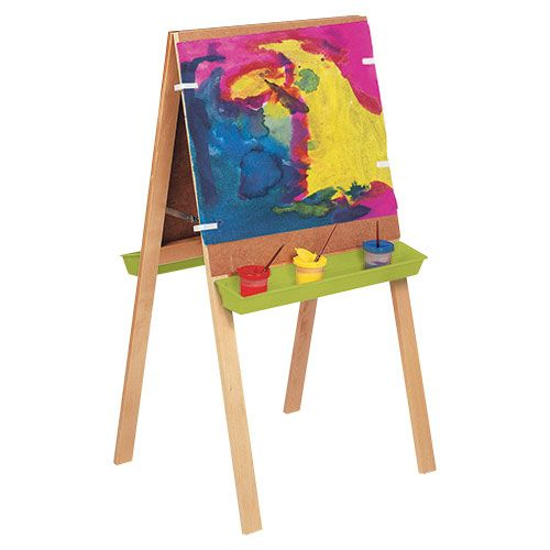 Double-sided Easel - An easel for 2 children which conveniently folds away. The stand is solid beech and the boards are easy-to-clean hardboard. Comes complete with 2 painting trays and 4 plastic paper clips.