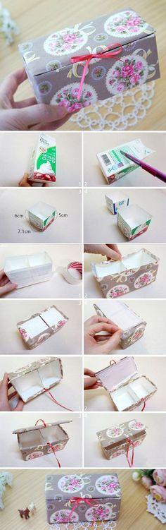 DIY Upcycled Milk Carton Storage Box Tutorial in Pictures. http://www.handmadiya.com/2015/11/fabric-box-tutorial.html: