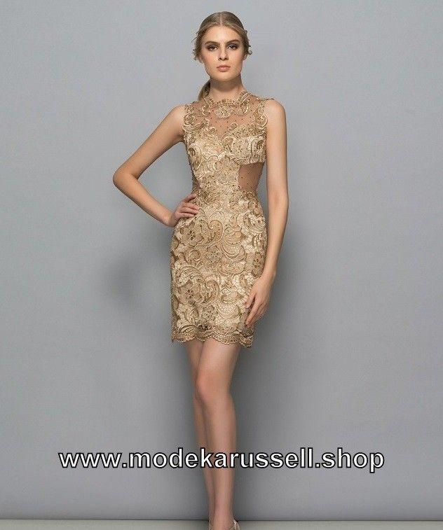 Bleistift Abendkleid Cocktailkleid 2019 In Gold Kurz Mit Spitze Cocktailkleid Kleider Abendkleid