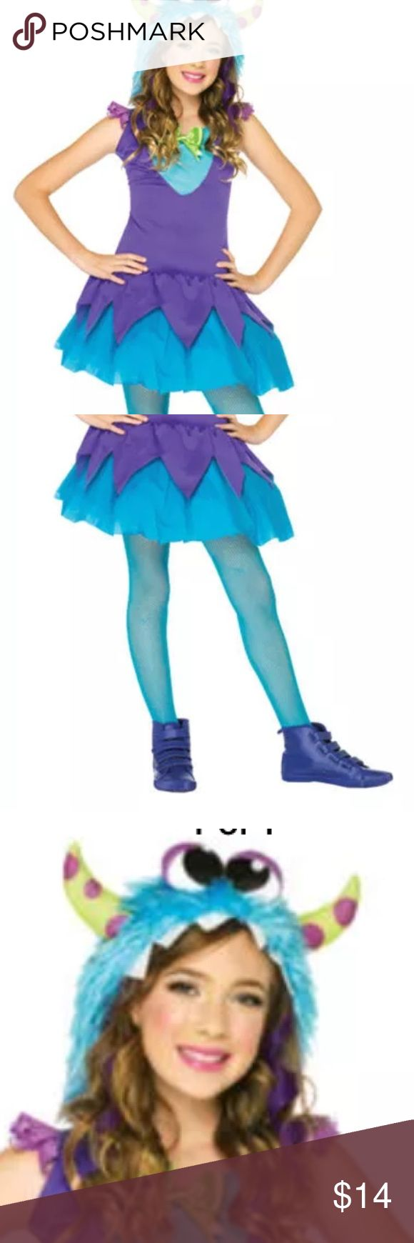 Cross Eyed Carlie Monster Inc  Small Size 4-6 Cross Eyed Carlie Girls Costume   The Enchanted Costumes Collection by Leg Avenue  features a purple and neon blue dress with layered skirt and attached neon blue furry monster hood with lime green and purple polka dot  horns.  Size s/p 4-6  Worn one time  Two pieces   EUC Leg Avenue Costumes