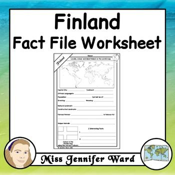 This worksheet asks students to locate information about Finland. It could be…