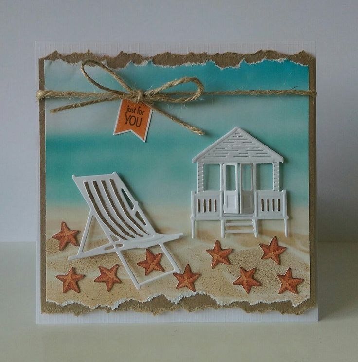 Summer card Beach Sea Seaside Marianne design Deck chair Beach chair tiny Beach House sand ocean Water zomer kaart
