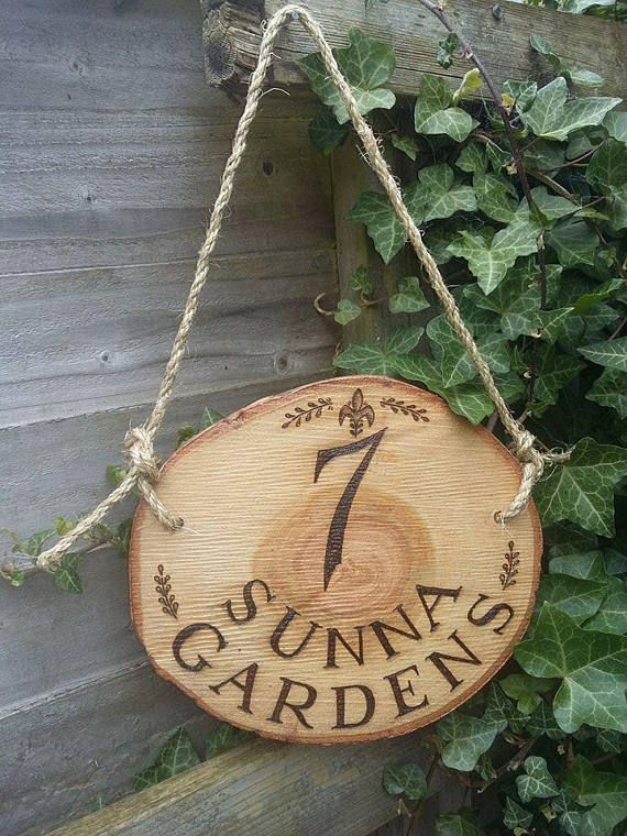 Personalised House Sign Number Log Slice Family Name Established Date Rustic Wood Pyrography Hand drawn Vintage Rope Hanging Door Hanging