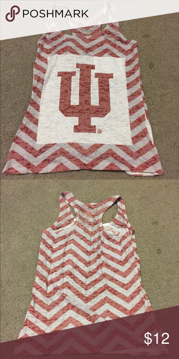 Indiana University Fan Gear Tank Top Indiana University racerback tank top perfect for working out or attending any IU event! The print is chevron and there is a small pocket on the very front of the shirt. Will accept offers! Tops Muscle Tees