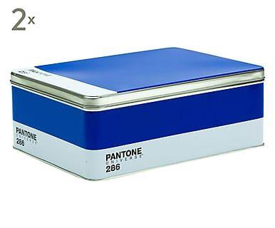 Set di 2 scatole in metallo Pantone 286 blu - 30x11x22 cm