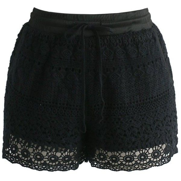 Chicwish Boho Weekend Crochet Shorts in Black (965 UAH) ❤ liked on Polyvore featuring shorts, pant, short, black, boho shorts, macrame shorts, relaxed shorts, relaxed fit shorts and crochet shorts