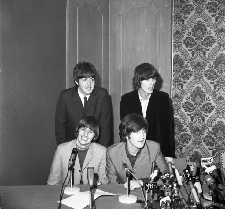 The Beatles were all smiles while meeting the press at the Warwick Hotel on Aug. 14, 1965.