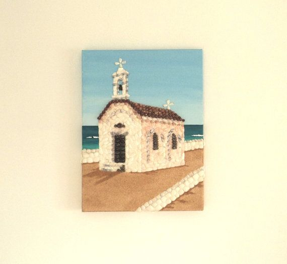 Acrylic Painting, Artwork with Seashells, Small Greek Chapel by the Sea in Seashell Mosaic on Sand, Mosaic Art, 3D Art Collage, Wall Decor, Home Decor #ArtworkwithSeashells #mosaiccollage #seashellmosaic #homedecor #walldecor #3D