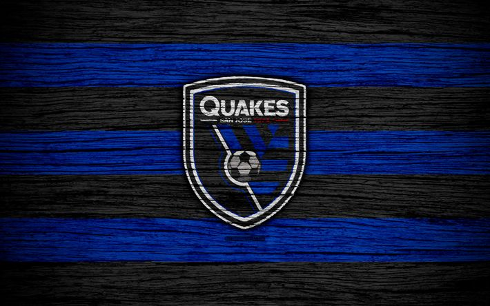 Download wallpapers San Jose Earthquakes, 4k, MLS, wooden texture, Western Conference, football club, USA, San Jose Earthquakes FC, soccer, logo, FC San Jose Earthquakes