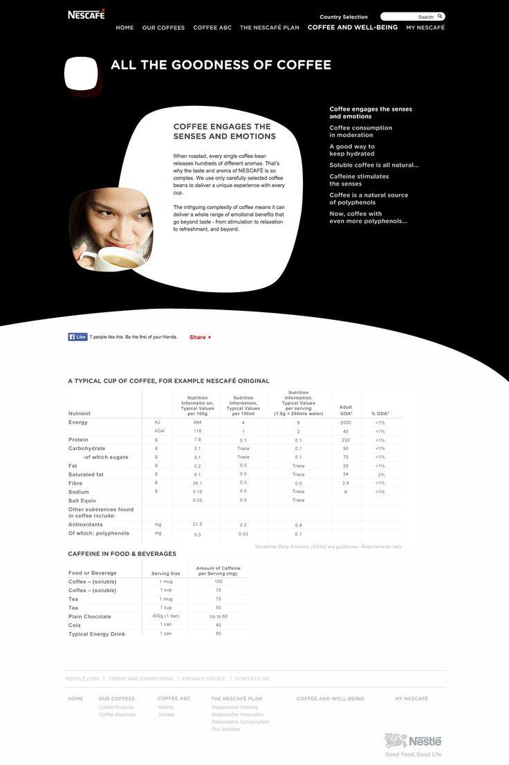 nescafé.com - Nutrition information