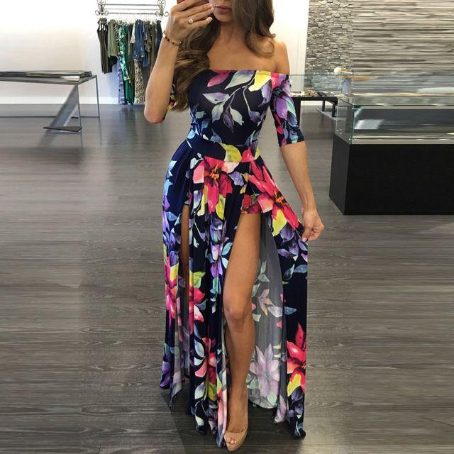 Más el tamaño del mameluco de las mujeres boho floral playsuit hombro jumpsuit dividida cuello slah mameluco trajes de playa larga maxi vestidos xxxl