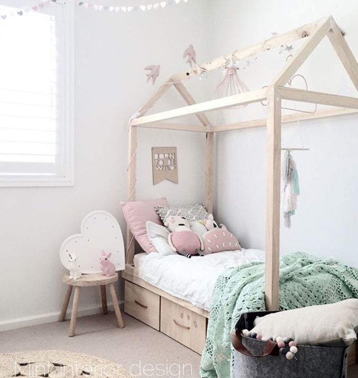 Bed frame around bed in a house shape kids room in 2019 - Bed frames for small rooms ...