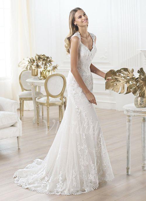 Brautkleider - $264.27 - Trompete/Meerjungfrau-Linie Herzausschnitt Sweep/Pinsel zug Tüll Spitze Brautkleid mit Perlen verziert (0025057569)