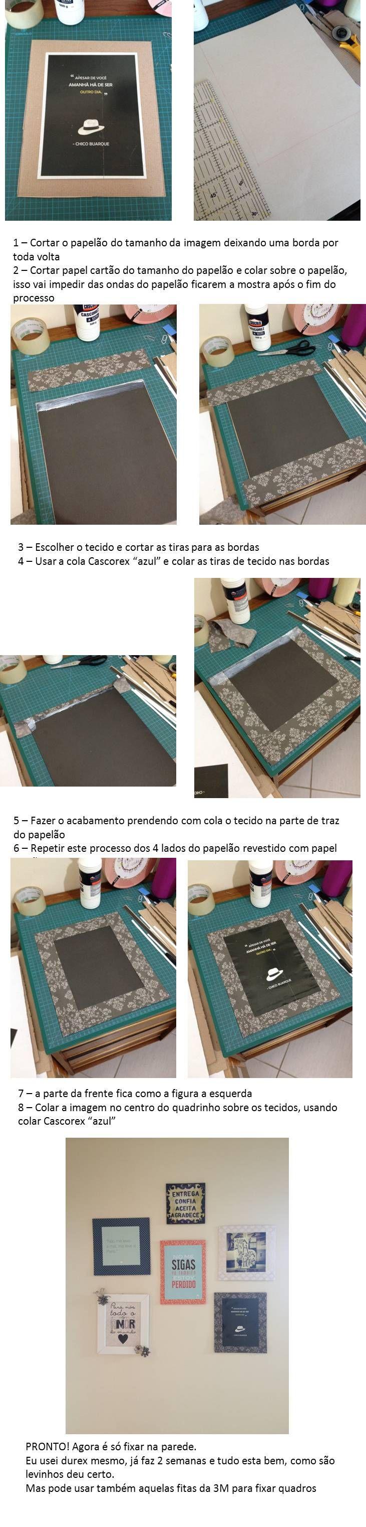 Passo a passo - Quadrinho de papelão e tecido! Para eternizar aquelas imagens legais que achamos na internet