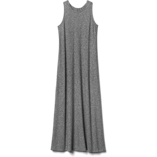 Gap Women Softspun Knit Racerback Maxi Dress ($55) ❤ liked on Polyvore featuring dresses, round neck maxi dress, strappy maxi dress, maxi dresses, knit dress and jersey knit dresses