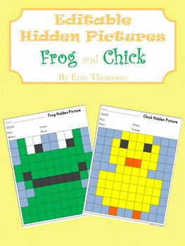 These EDITABLE hidden pictures can be tailored to your students needs. All you have to do is fill in the key at the top of the page and the hidden picture chart will fill in for you. Use these hidden pictures to practice letter and number recognition, sight words, word families, and more!