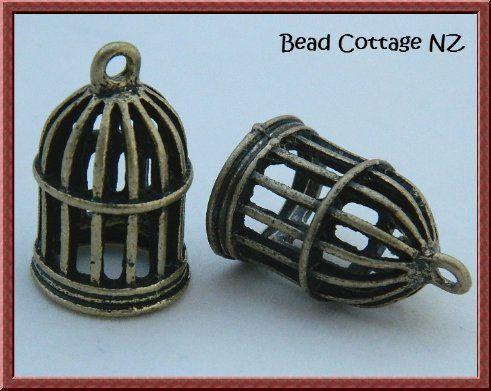 Bronze Birdcage Charm / Pendant x 1