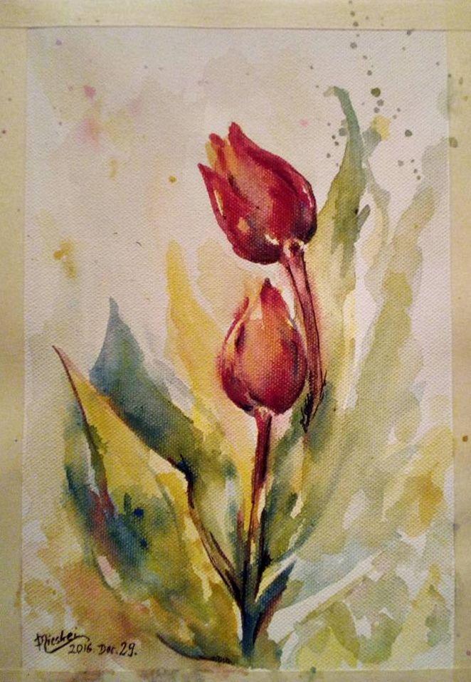 Tulipán-akvarell- vászon-20x28 cm