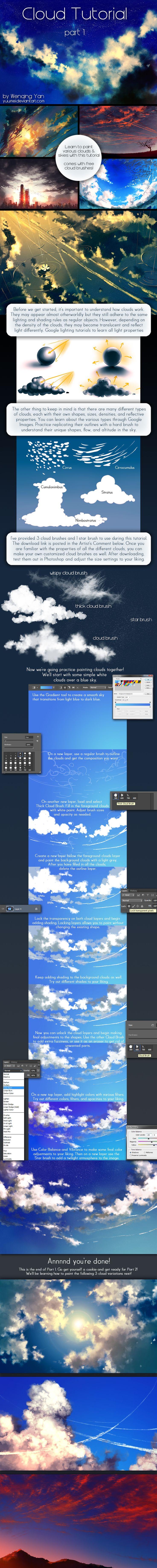 Cloud Tutorial Part 1 by yuumei.deviantart.com on @deviantART