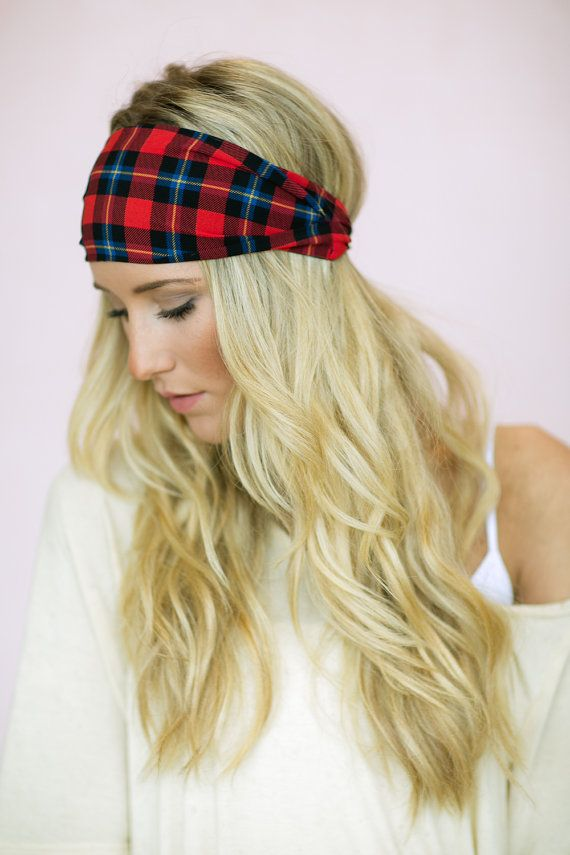 Red Plaid Headband - Grunge Stretchy Christmas Headband - Wide Women's Fashion Hair Accessories on Etsy, $18.00 MUST HAVE FOR CHRISTMAS TIME!!