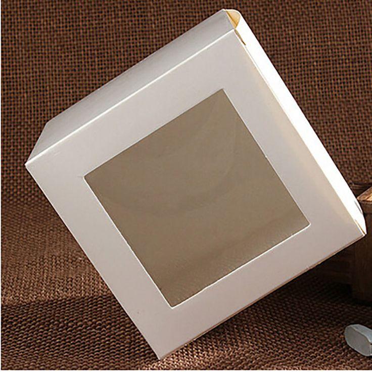 Оптовая продажа 10 * 10 * 10 см белый оконной коробки упаковка собственный подарочные коробки конфет / торт / / / кекс упаковочной коробки купить на AliExpress