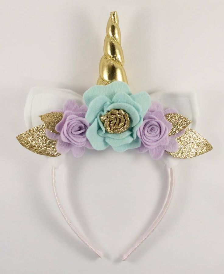 Gold and Lilac Unicorn Floral Crown - Unicorn Horn and Ears Headband - Unicorn Headband by LittleLapins on Etsy