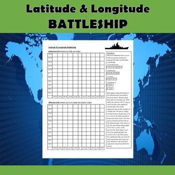 Latitude and Longitude Battleship-No Prep social studies