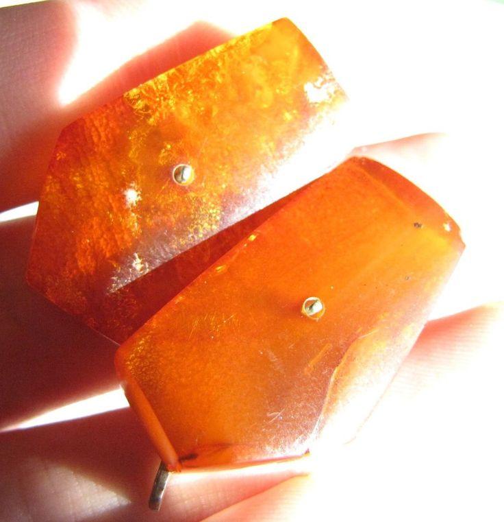 Antique 10 grams Honey Butterscotch Natural Baltic Amber Stone cufflinks 老琥珀