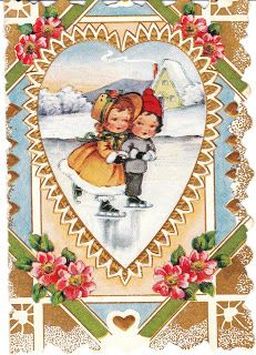 """1920s Valentine of Ice Skating Children-This beautiful little card (about 4"""" high) is a Whitney Made card. It's 1920's vintage and features two children ice skating on a frozen pond. View from the Birdhouse:"""