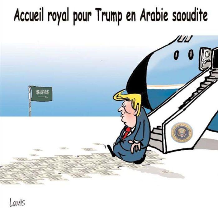 Lounis (2017-05-21) USA  - Arabie Saoudite:  Accueil royal pour Donald  Trump en Arabie Saoudite ÷÷ Caricature de Lounis du 21-05-2017 | Presse-dz