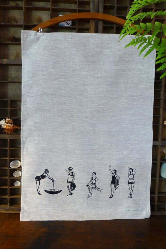 Tea Towel  100 Linen 'Gatsby Girls' in black on by VintageCoastInt, $14.00