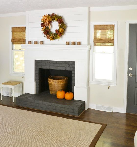 Fireplace Makeover Just in Time for Fall! what about just building a mantle over existing brick?