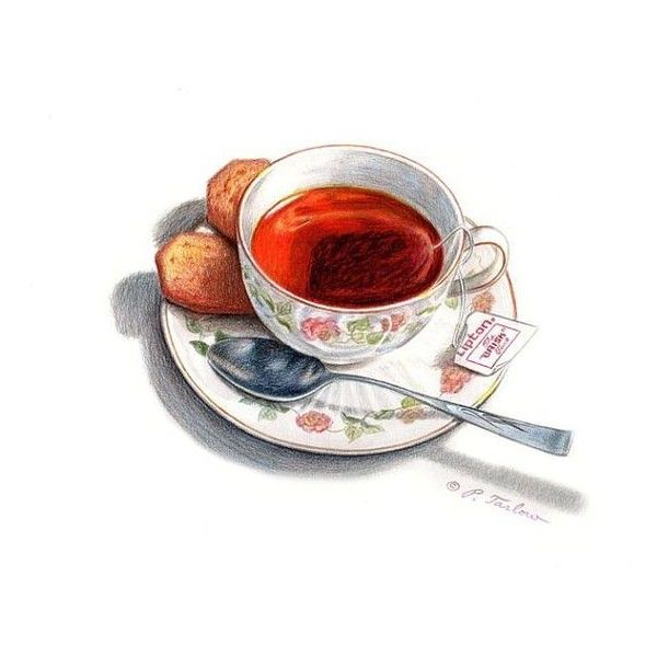Cup Of Tea Biscuits Food Art Print, Kitchen Art, Food Illustration,... ❤ liked on Polyvore featuring home, home decor, wall art, watercolor illustration and watercolor wall art
