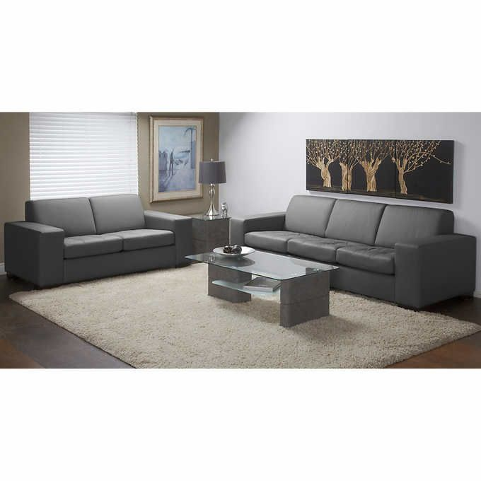 2 899 99 Ambiante Dark Grey Top Grain Leather Sofa And Loveseat Living Room Leather Leather Living Room Set Living Room Sets