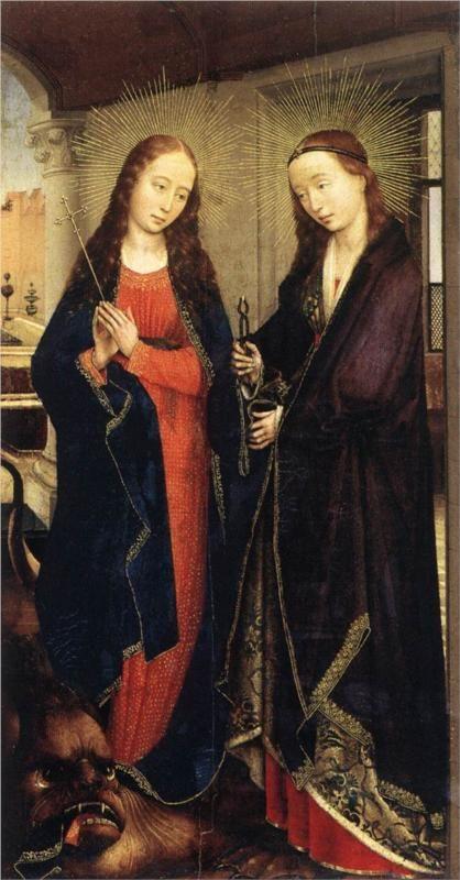 Rogier van der Weyden, Saints Margaret and Apollonia, c. 1445 - 1450Sts Margaret, 1445, Staatlich Museen, Rogier Vans, Apollonia, Saint Margaret, Der Art, Vans Der Weyden, Oil