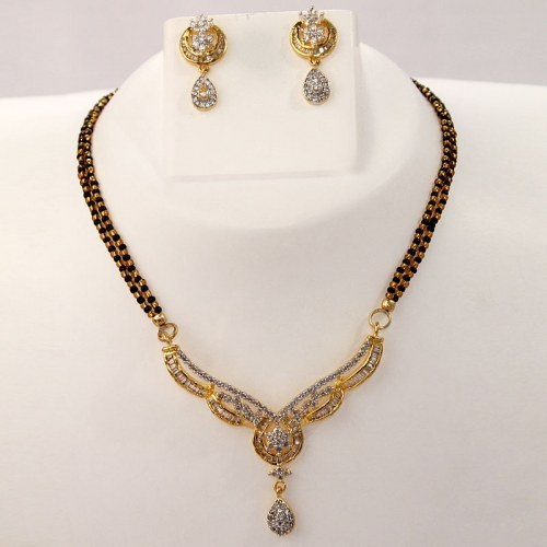 Silver coloured Mangalsutra Necklace Set