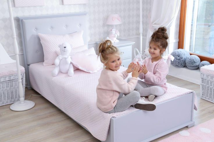 Caramella.pl bed upholstered in gray. Headboard, decorated with fabric is a great place to lay down after school and read a book or just talk with friend :) Choose a color: gray, beige, pink, blue or  mint maybe?
