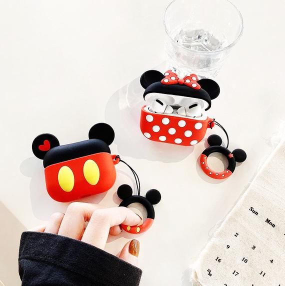 Disney Airpods Case 3d Mouse Minnie Mickey Airpods Case Airpods Pro Cover Kawaii Silicone Airpods Accessories With Keychain Birthday Gift In 2020 Airpods Pro Earphone Case Minnie