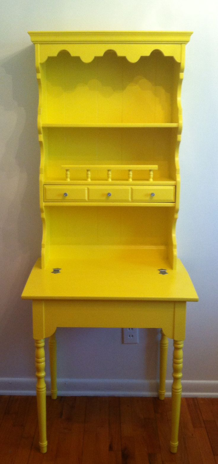 Yellow painted wooden maple secretary / desk. Turned out beautiful along with the yellow accent wall in the granddaughters room.