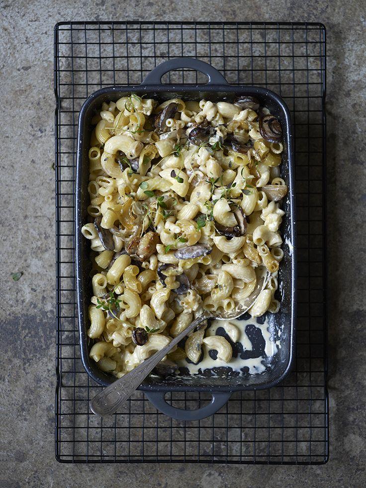 Bilde og oppskrift på mac and cheese med sopp og blåmuggost. Food styling.