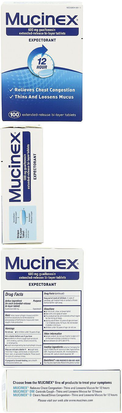 Cough Cold and Flu: Mucinex 12-Hour Chest Congestion Expectorant Tablets, 600Mg 100 Count -> BUY IT NOW ONLY: $48.7 on eBay!
