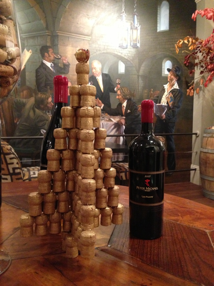 Cork Christmas tree and Peter Michael wine