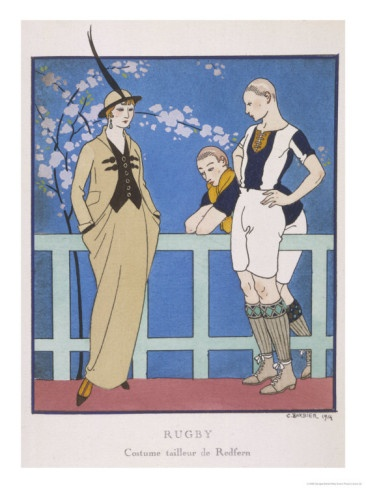 Tailor-Made by Redfern with Draped Skirt with Side Pockets Waistcoat and Jacket  by Georges Barbier 1914