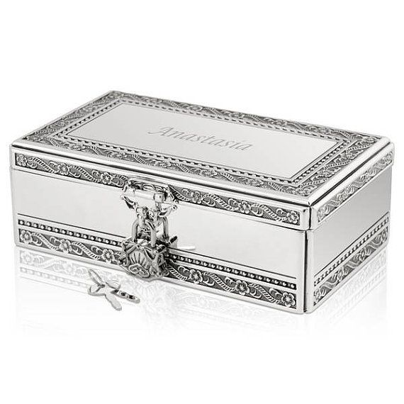 Personalized Silver Jewelry Box with Lock and Key by MemorableGift, $74.95
