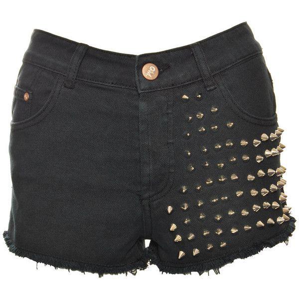 Glamorous Black Della Studded Shorts found on Polyvore