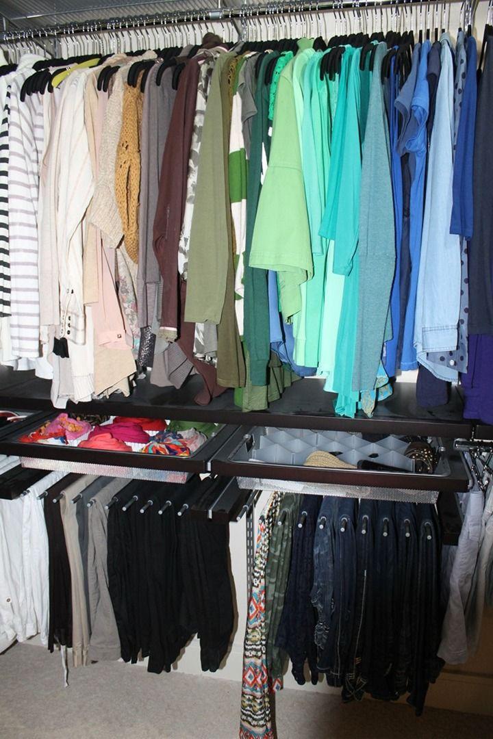 elfa closet system platinum u0026 walnut finish slide out pant rack and 1 runner
