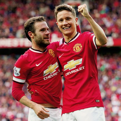 Ander Herrera and Juan Mata celebrate yet another goal for Manchester United